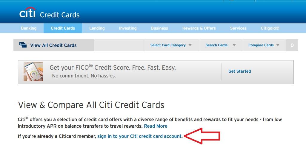 citi bank credit card login usa